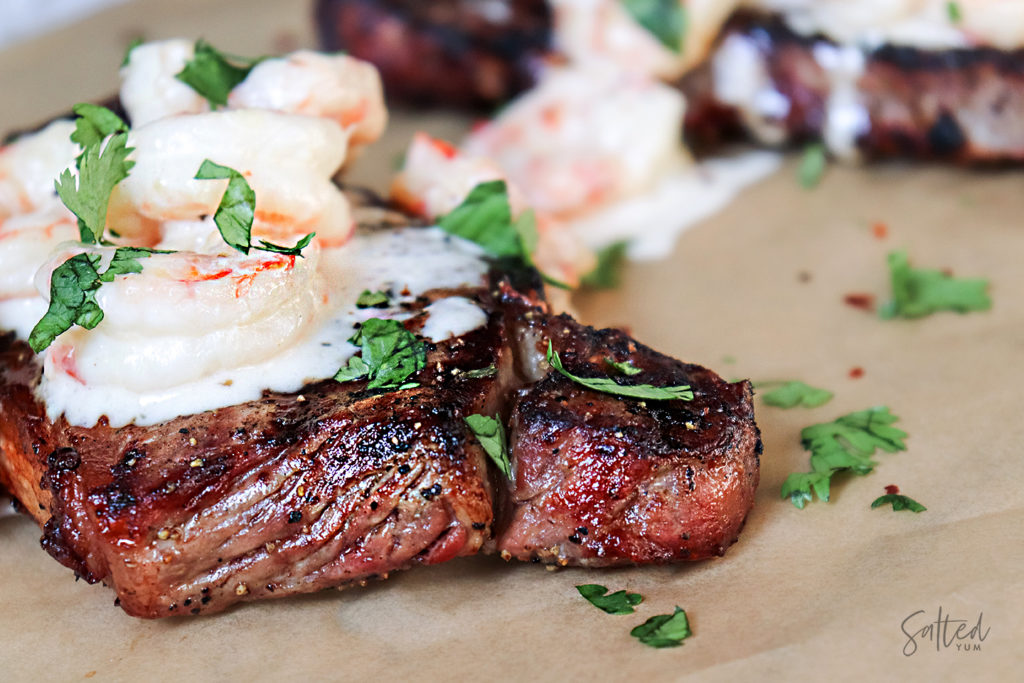 Surf and Turf: Grilled Steak With Creamy Shrimp