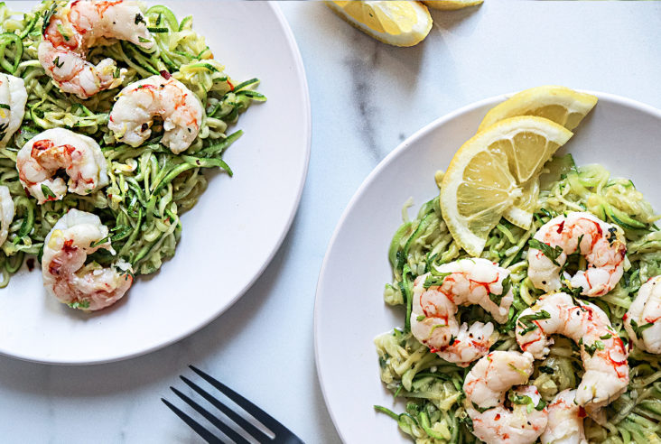 lemon cilantro shrimp zoodles