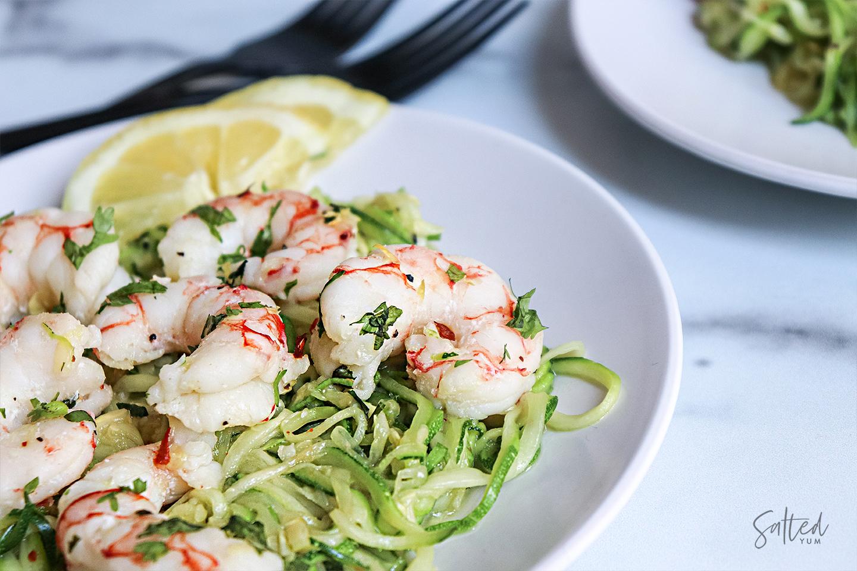 lemon cilantro shrimp zoodle